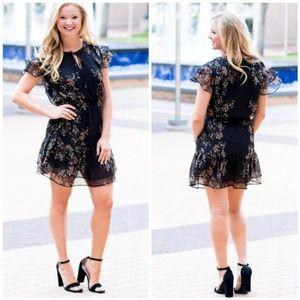 NWOT Tart Ella Black Floral Mini Dress